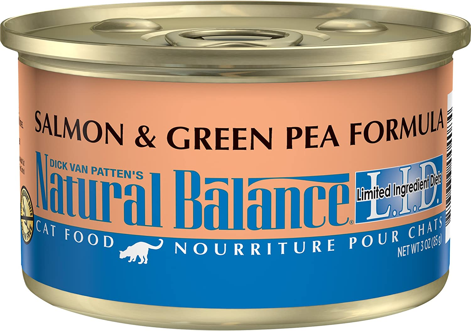 Natural Balance L.I.D. Limited Ingredient Diets Canned Wet Cat Food, Grain Free, Salmon & Green Pea Formula, 3Ounce Can (Pack of 24)