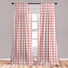 Ambesonne Checkered 2 Panel Curtain Set, Picnic in Countryside Themed Gingham Pattern in Soft Colors Print, Lightweight Window Treatment Living Room Bedroom Decor, 56