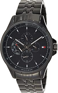 Tommy Hilfiger Men'S Black Dial Ionic Plated Black Steel Watch - 1791611