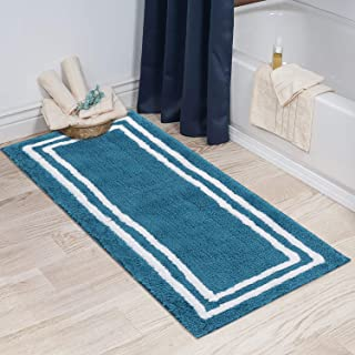 Artiron Banded Bathroom Rug Non-Slip Absorbent Water Super Cozy Floor Mats, Soft Shaggy Microfiber Kids Rugs Durable Machine Washable Bath Rugs for Shower Mat 18x47inch Blue