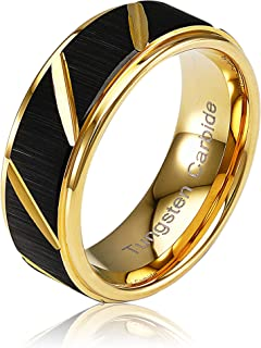 100S مجوهرات خاتم التنجستين للرجال خواتم زفاف سوداء غير لامعة متعددة الجروفات الحجم 6-16