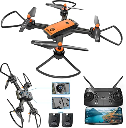 $59 Get Drone with Camera, TOPVISION WiFi FPV 720P HD Camera & 480P Bottom Camera Wide-Angle Live Video RC Quadcopter with Altitude Hold One Key Take Off/Landing, Compatible w/VR Headset