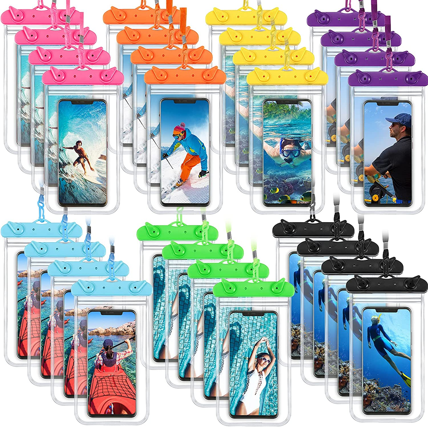 28 Pieces Universal Waterproof Phone Pouch Waterproof Phone Holder Underwater Clear Case Cellphone Dry Bag with Lanyard 7 Colors Outdoor Beach Swimming Floating Pouch Within 3.9 x 6.9 Inches