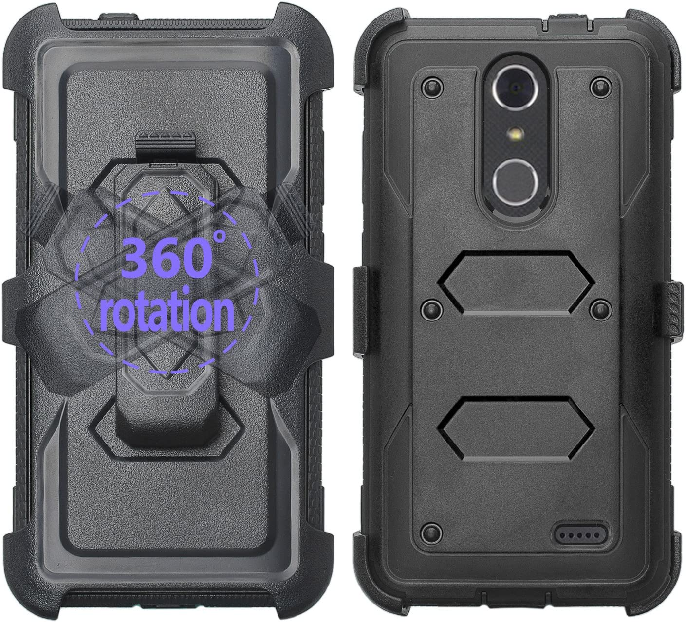 [GALAXY WIRELESS] For ZTE ZMAX One (Z719DL) Case, ZTE Grand X 4 Case, ZTE Blade Spark Z971 Case [Shock Proof] Heavy Duty Belt Clip Holster,Full Body Coverage with Built In Screen Protector - Black