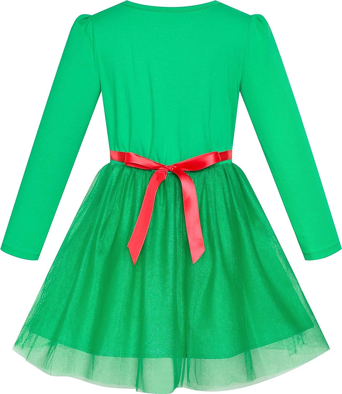 Sunny Fashion Vestito Bambina Natale Cappello di Babbo Natale Manica Lunga Festa 3-12 Anni