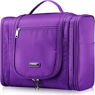 Extra Large Hanging Toiletry Bag for Hair Dryer Curling Iron Waterproof Dopp kit Shaving Bag (Purple)