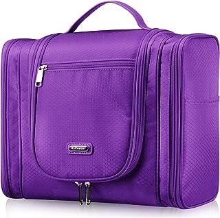 Extra Large Hanging Toiletry Bag for Hair Dryer Curling Iron Waterproof Dopp kit Shaving Bag (Purple)