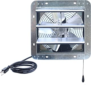 """iLIVING ILG8SF10V-T 10 inch Shutter Exhaust Attic Garage Grow, Ventilation Fan with 3 Speed Thermostat 6 Foot Long 3 Plugs Cord, 10"""" - Variable, Silver"""