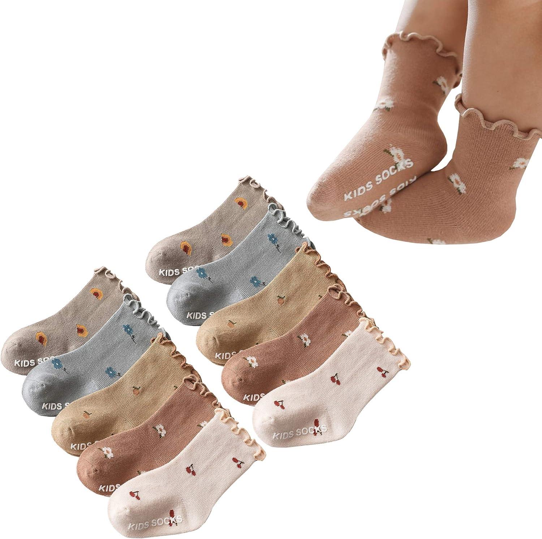 Newborn Toddler Non-Slip Grip Socks Ruffle Lotus Leaf Frilly Socks for Baby Girls