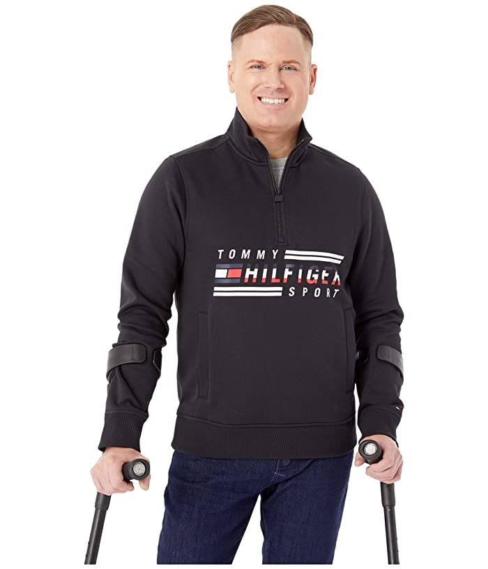 Tommy Hilfiger Adaptive  Signature Mockneck Sweatshirt (Jet Black) Mens Clothing