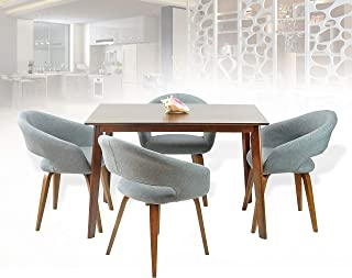Rattan Wicker Furniture Dining Kitchen Set of 5 Piece Rectangular Wooden Brown Table with 4 Lagos Armchairs Light Gray Color