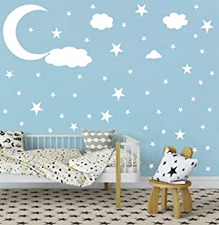 Easu Moon and Stars Wall Decal Vinyl Sticker Kids Wall Decoration Nursery Wall Decal Removable Home Decoration