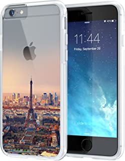True Color Case Compatible with iPhone 6/S Plus Case, Eiffel Tower Paris [Urban Landmarks] Printed on Clear Transparent Hybrid Cover Hard + Soft Slim Durable Protective Shockproof Rubber TPU Bumper
