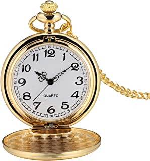 I-MART Smooth Vintage Pocket Watch with Chain