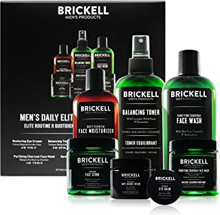Brickell Men's Daily Elite Face Care Routine II, Toner, Charcoal Facial Wash, Face Scrub, Anti-Aging Night Cream, Eye Crea...