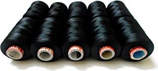 Goelx Silk Thread Shiny and Soft thread Beading thread for jewelry making-tassel making- embroidery. 10 Black Popular Jewelry Making -embroidery Threads Included.