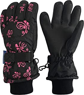 Kids Scroll Print Waterproof Thinsulate Insulated Winter Snow Gloves