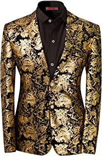 Cloudstyle Men's Dress Floral Suit Notched Lapel Slim Fit Stylish Blazer Dress Suit