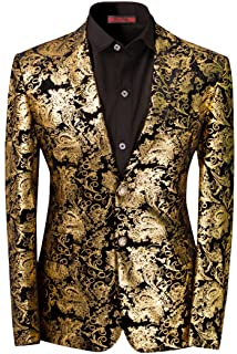 03bfbd8a2206a Men's Dress Floral Suit Notched Lapel Slim Fit Stylish Blazer Dress Suit
