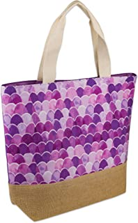 DII Mermaid Jute Beach Bag 17x20.5x5.5 Shoulder Travel Tote Purple, Mermaid Jute Purple