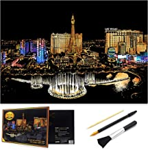 Scratch Art Rainbow Painting Paper, Sketch Pad DIY Night View Scratchboard for Kids & Adults, Engraving Art & Craft Set, Scratch Painting Creative Gift, 16'' x 11.2'' with 3 Tools (Las Vegas-America)