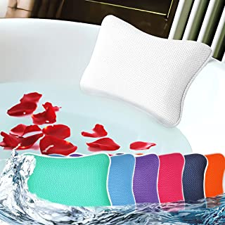 Bath Pillow for Tub, Non Slip, Breathable Soft, Comfortable Head Neck Support, Machine Washable, 2 Suction Cups(Off White)