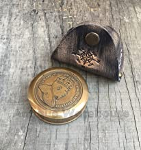 Antique House Brass Sailor's Marine Pocket Compass with Belt Loop Leather case Edward VII Compass King and Emperor Compass for Her/Him/Birthday Gift/Father Day/Navy/Christmas/Halloween