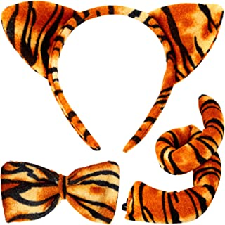 ANIMAL DRESSING UP SET TIGER OR LEOPARD TIE TAIL EARS FANCY DRESS STAG HEN NIGHT