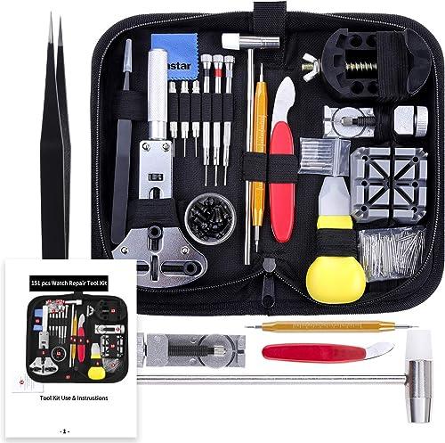 Vastar Watch Repair Kit, Watch Repair Tools Professional Spring Bar Tool Set, Watch Band Link Pin Tool Set with Carry...