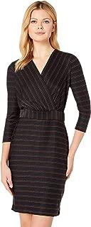 eci Women's Multicolored Metallic Knit Stripe Dress
