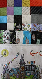 Salem Quilt Show by Meg Hawkey from Maywood Studio 1 Natural Panel + 26 Fat Quarters 100% Cotton Quilt Halloween Fabric
