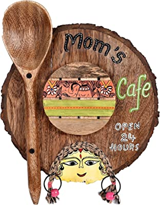 """Aakriti Art Creations """"MOM's Cafe"""" Hand Painted Decorative Wooden Sign Board (Brown) with Madhubani Motifs"""