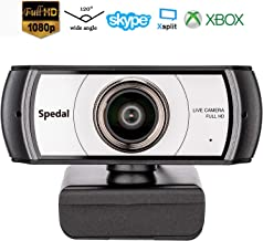 Wide Angle Webcam,120 Degree Large View Spedal 920 Pro Video Conference Camera, Full HD 1080P Live Streaming Web Cam with Built-in Microphone, USB Webcam for Mac, PC, Laptop and Desktop