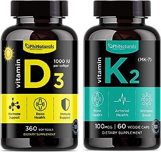 Phi Naturals Vitamina D3 y K2. Vitamina Sunshine para inmune y apoyo