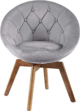 Volans Mid Century Modern Velvet Tufted Round Back Upholstered Swivel Accent Chair Grey with Wood Legs Vanity Chair, Home Office Desk Chair for Living Room Bedroom Study