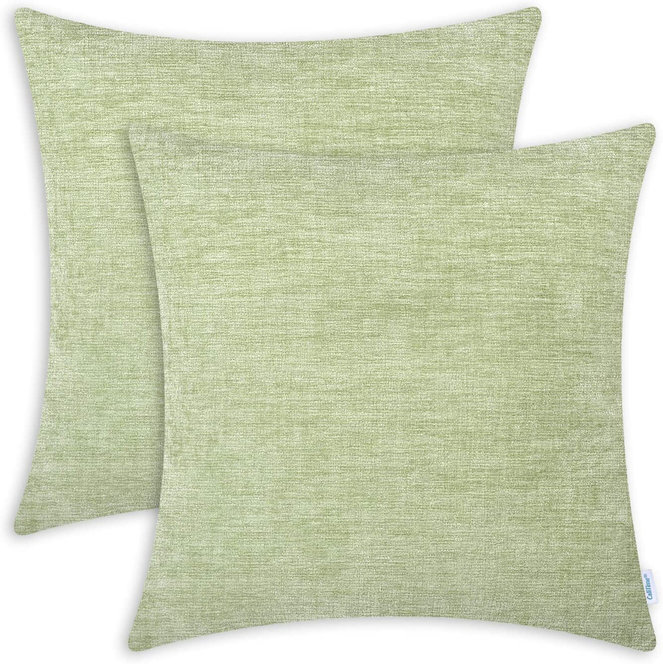 CaliTime Pack of 2 Cozy Throw Pillow Covers Cases for Couch Sofa Home Decoration Solid Dyed Soft Chenille 18 X 18 Inches Sage: Home & Kitchen