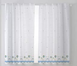 Cardenal Textile Cups Kitchen Curtain Curtain, Blue, Pack of 2 100 x 140 cm