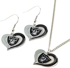 NFL Swirl Heart Earrings and Pendant Set - Jewelry Gift for Mom, Wife, Sister, Daughter, Best Friend - Ideal Gift for Birt...