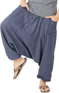 CandyHusky Mens Stripe Cotton Summer Baggy Boho Aladdin Hippie Yoga Harem Pants