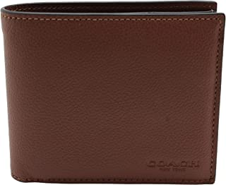 Coach Compact ID Wallet in Sport Calf Leather (Dark Saddle) - F74991 CWH
