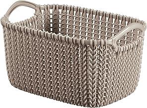 "Curver 226169Plastic Knit Brown Rectangular Storage Basket 9.75x 13.7cm x 3""L"