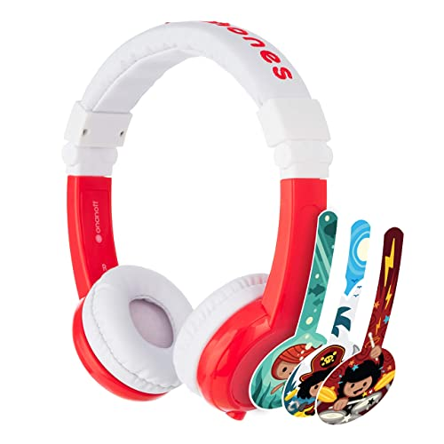 ONANOFF BuddyPhones Explore Foldable, Volume-Limiting Kids Foldable Headphones with Travel Bag, Built-in Audio Sharing Cable with Mic, Compatible with Fire, iPad, iPhone, and Android Devices, Red