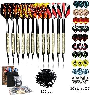 Sinwind Soft Darts Set, 12 Pcs Soft Tip Darts, 42 Flights and 100 Soft Tip Points for Electronic Dartboards