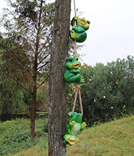 Set of 3 Cute Frog Figurines Hanging Animal Statue,Frolicking Frogs Hanging Garden Sculpture Decorative Outdoor Ornaments Décor,Best Indoor Outdoor Statues Yard Art Figurines for Patio Lawn House