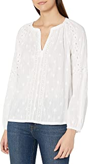 Lucky Brand Women's Long Sleeve White Embroidered Peasant Top