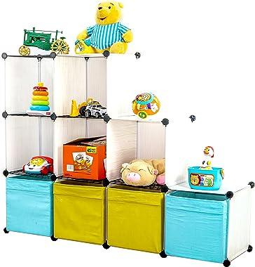 UNICOO - Multi Use DIY Plastic 9 Cube Organizer, Toy Organizer, Bookcase, Storage Cabinet, with Wire Holding Panels (White Wo