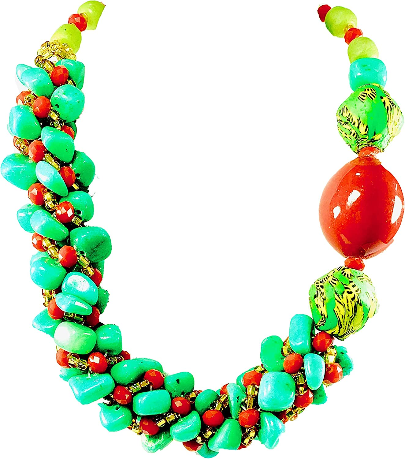 Sophia Dor 16H - Congo- Green Red Glass Bead Necklace Bracelet and Earrings African Hand-Woven Glass Beads, Recycled Glass Material, Elegant Modern Ghanaian Chunky Bold Jewelry Sets