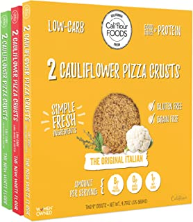 Cali'flour Foods Pizza Crust (Variety Pack, 3 Boxes, 6 Crusts) - Fresh Cauliflower Base | Low Carb, High Protein, Gluten and Grain Free | Keto Friendly