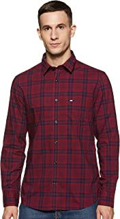 Arrow Men Red Slim Fit Spread Collar Check Casual Shirt