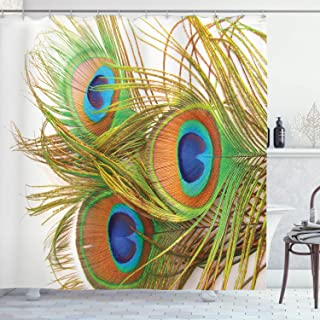 ABAKUHAUS Spring Shower Curtain, Modern Peacock Feathers, Cloth Fabric Bathroom Decor Set with Hooks, 175 cm x 220 cm, Blu...